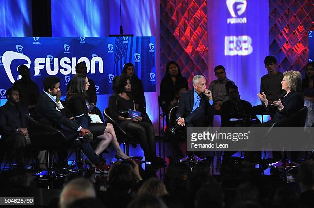 Journalists Rembert Browne Alicia Menendez Akilah Hughes Jorge Ramos and democratic presidential candidate Hillary Rodham Clinton pictured onstage...