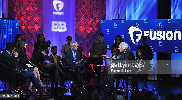 Journalists Rembert Browne Alicia Menendez Akilah Hughes Jorge Ramos and democratic presidential candidate Bernie Sanders pictured onstage during the...