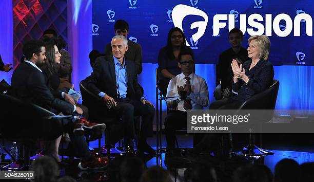 Journalists Rembert Browne Alicia Menendez and Jorge Ramos with democratic presidential candidate Hillary Rodham Clinton pictured onstage during the...