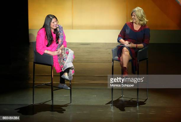Journalists Sharmeen Obaid-Chinoy and Cynthia McFadden speak on stage at the 8th Annual Women In The World Summit at Lincoln Center for the...