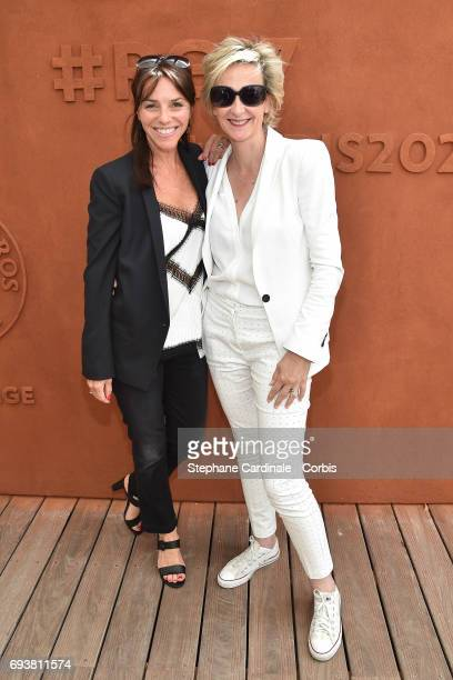 Journalists Sophie Le Saint and Sylvie Adigard attend the French Tennis Open 2017 Day Twelve at Roland Garros on June 8 2017 in Paris France