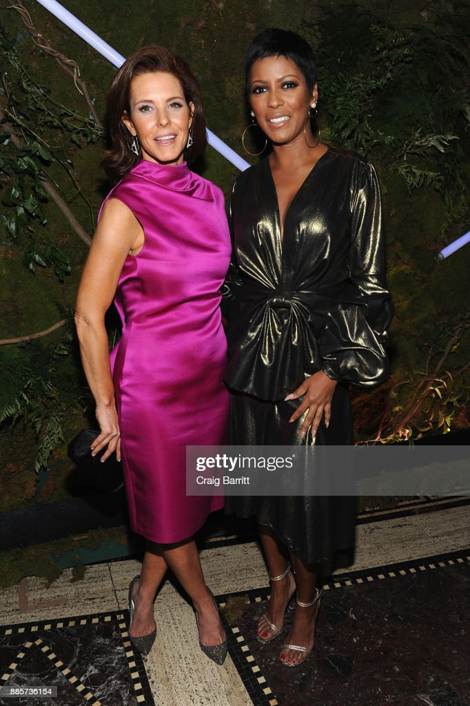 Journalists Stephanie Ruhle (L) and Tamron Hall attend 'The Bloomberg 50' Celebration at Gotham Hall on December 4, 2017 in New York City.