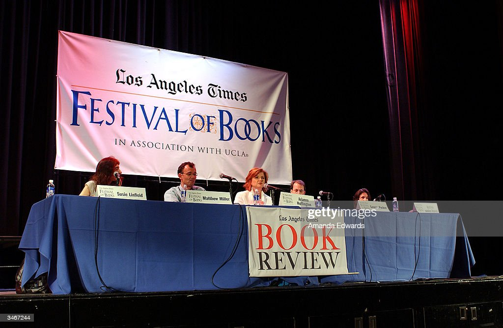 Journalists Susie Linfield, Matthew Miller, Arianna Huffington, George Packer and Katrina Vanden Heuvel participate in a panel discussion 'The Future of Dissent' at the 9th Annual LA Times Festival of Books on April 25, 2004 at UCLA in Westwood, California.