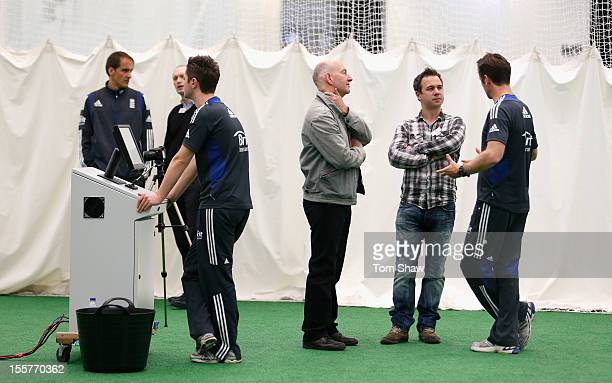 Journalists talk to coaching staff during the ECB England Performance Programme Training session at Loughborough University on November 8 2012 in...