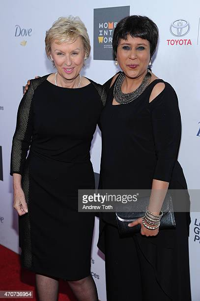 Journalists Tina Brown and Barkha Dutt attend the Women In World Summit at the David H Koch Theater at Lincoln Center on April 22 2015 in New York...