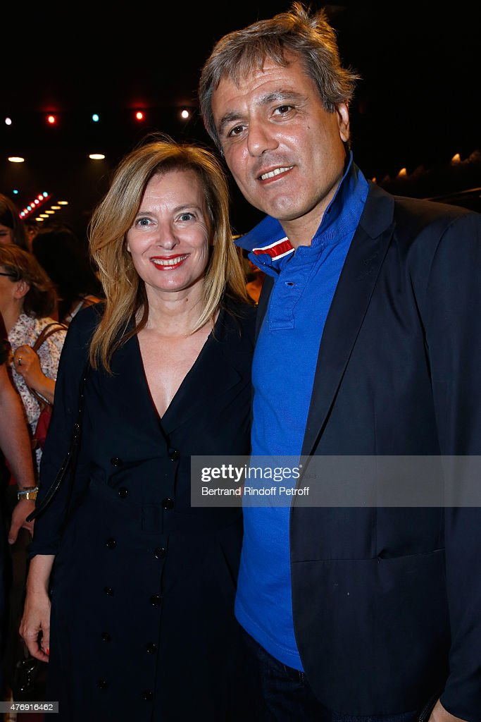 Journalists Valerie Trierweiler and Journalist Jean-Noel Mirande attend Humorist Berangere Krief Performs at L'Olympia on June 12, 2015 in Paris, France.