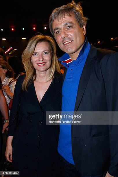 Journalists Valerie Trierweiler and Journalist JeanNoel Mirande attend Humorist Berangere Krief Performs at L'Olympia on June 12 2015 in Paris France