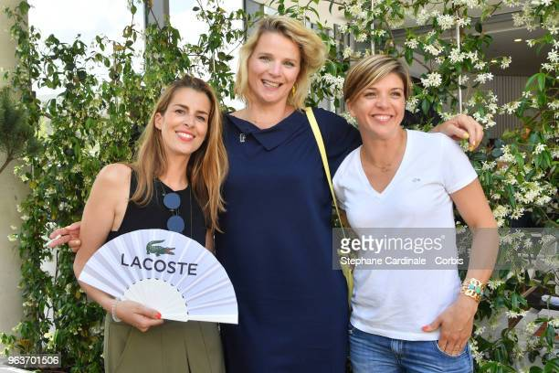Journalists Vanessa Lemoigne Benedicte Le Chatelier and France Pierron attend the 2018 French Open Day Four at Roland Garros on May 30 2018 in Paris...