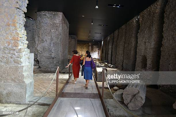 Journalists visit a room at the House of Augustus on the Palatine hill in Rome on September 17 2014 The house of Emperor Augustus opened its doors to...