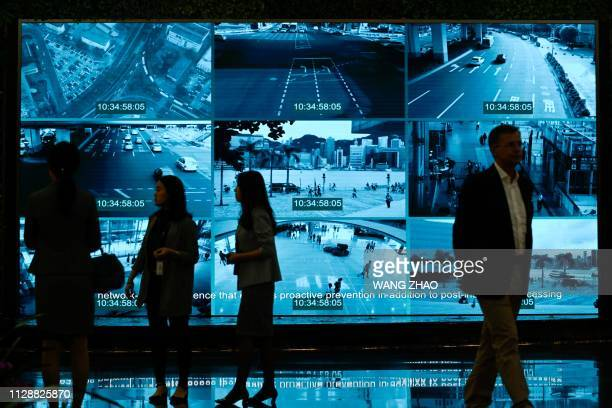 Journalists visit the Huawei Digital Transformation Showcase in Shenzhen China's Guangdong province on March 6 2019 Chinese telecom giant Huawei...