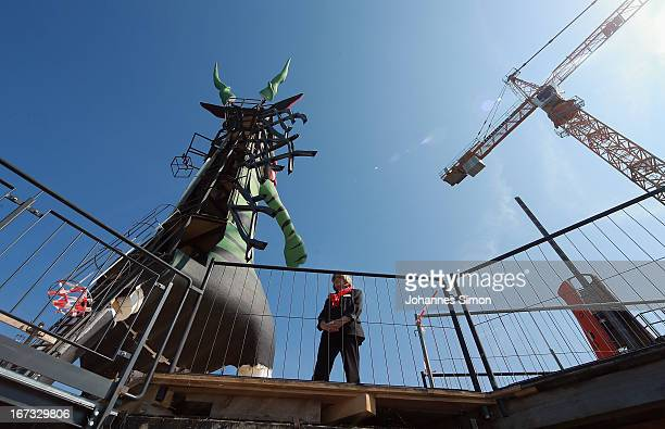 Journalists visit the 'Seebuehne' during the roofing ceremony on April 24, 2013 in Bregenz, Austria. The premiere of the opera on the lake...