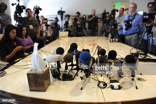 Journalists wait for the start of a press conference by Charlotte Lewis an actress from London who alleges she was sexually victimized by Roman...
