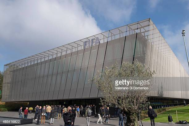 Journalists wait outside the FIFA headquarters during the extraordinary FIFA executive committee meeting at Home of FIFA on October 20 2015 in Zurich...