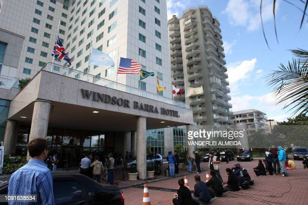 Journalists wait outside the hotel where relatives of passengers of illfated Air France flight 447 are being looked after close to Rio de Janiero's...