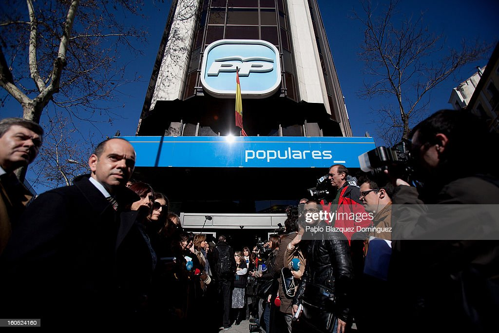 Journalists wait outside the PP Headquarters for the PP national executive comitee on February 2, 2013 in Madrid, Spain. Spanish reports alleged Rajoy and other conservative politicians received regular payments from a previously undisclosed account run by the treasurers of his Popular Party from 1990 to 2008.