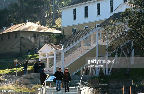 Journalists walks on the grounds of the Angel Island Immigration Station during a media preview December 9 2008 on Angel Island in California A $60...