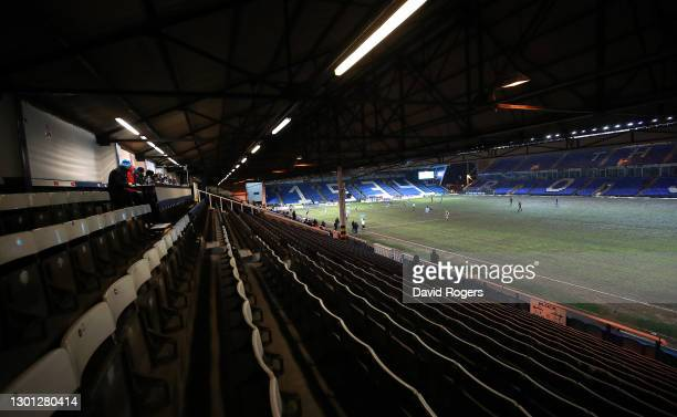Journalists watch the match from the press box during the Sky Bet League One match between Peterborough United and Ipswich Town at Weston Homes...