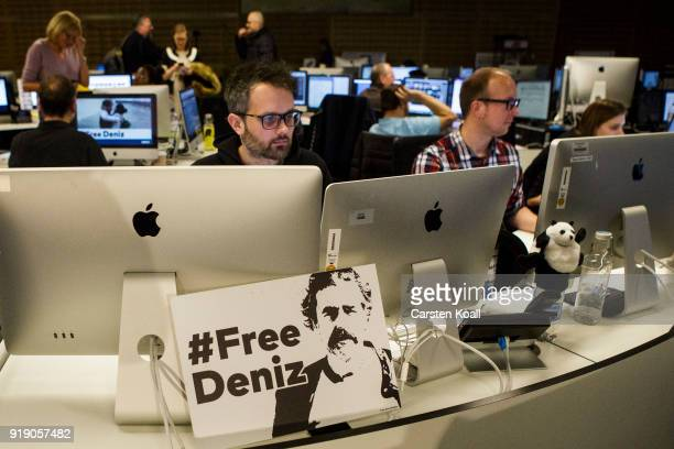 Journalists work in the Die Welt newsroom following the release of Die Welt journalist Deniz Yucel from a Turkish prison earlier today on February 16...