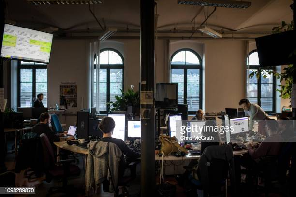 Journalists work in the news room of Index, one of Hungary's biggest opposition news portals on January 15, 2019 in Budapest, Hungary. Index has more...