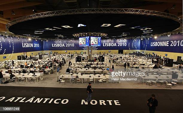 Journalists work in the press centre of the NATO Summit on November 18 2010 in Lisbon Portugal The two day summit will address issues including a new...