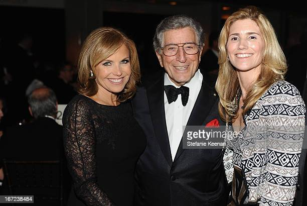 Journalist/TV personality Katie Couric Tony Bennett and Susan Crow attend The Film Society of Lincoln Center's 40th Chaplin Award Gala supported by...