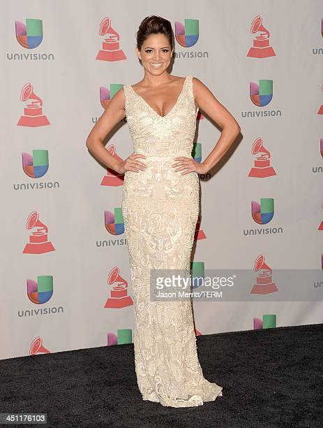 Journalist/TV personality Pamela Silva Conde poses in the press room at the 14th Annual Latin GRAMMY Awards held at the Mandalay Bay Events Center on...