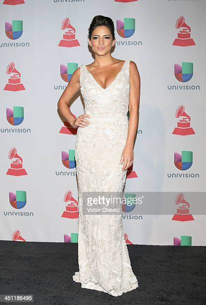 Journalist/TV personality Pamela Silva poses in the press room during The 14th Annual Latin GRAMMY Awards at the Mandalay Bay Events Center on...