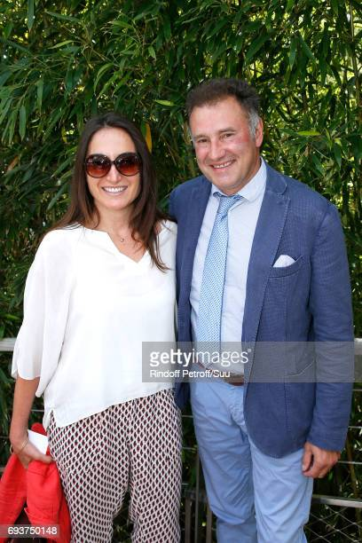 Journalsit Pierre Sled and guest attend the 2017 French Tennis Open Day Twelve at Roland Garros on June 8 2017 in Paris France