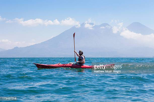 a journey across lake atitlan by kayak - guatemala stock pictures, royalty-free photos & images