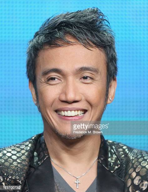 Journey band member lead vocalist Arnel Pineda speaks onstage during the 'Don't Stop Believin' Everyman's Journey' panel at the PBS portion of the...