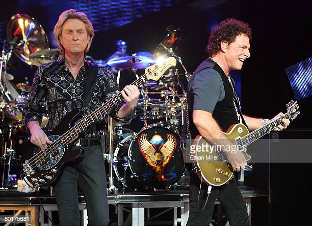Journey bassist Ross Valory and guitarist Neal Schon perform at the Planet Hollywood Theatre for the Performing Arts March 8 2008 in Las Vegas Nevada