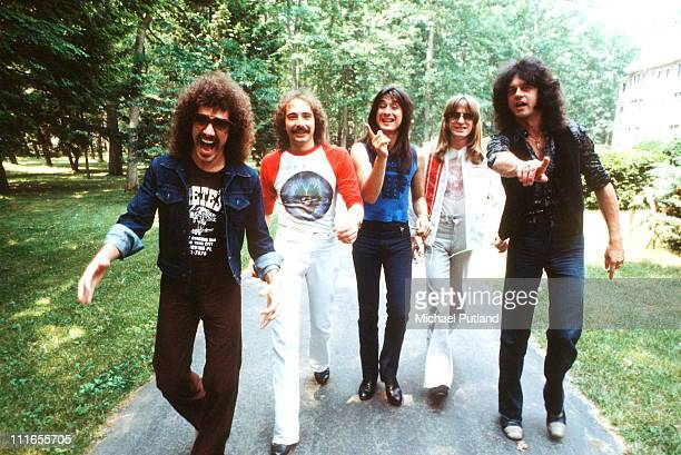 Journey, group portrait, New York, June 1979, L-R Neal Schon;Steve Smith;Steve Perry;Ross Valory;Gregg Rolie.