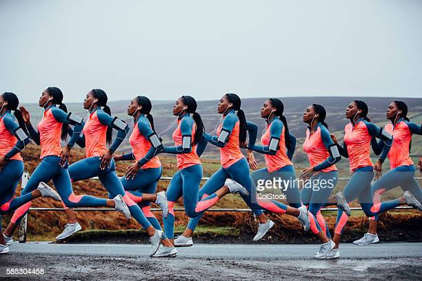 journey of a female runner - sequential series stock pictures, royalty-free photos & images