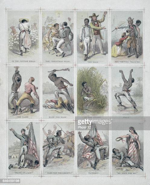 Journey of a slave from the plantation to the battlefield by James fuller Queen 1820 or 18211886 artist Uncut sheet of twelve illustrated cards...