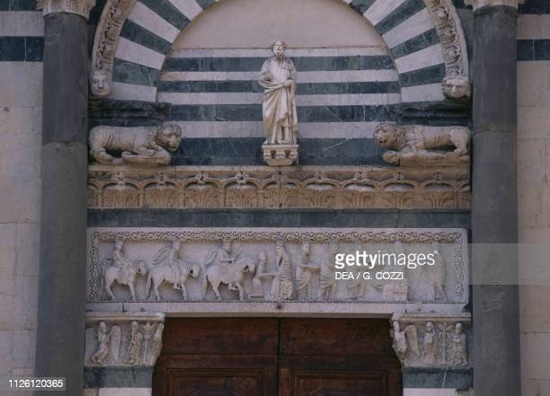 Journey of the Magi 12th century on the architrave of the portal of the church of Sant'Andrea Pistoia Tuscany Italy 8th15th century