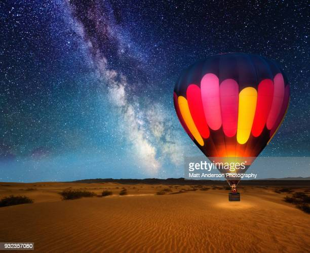 journey under the stars alt horizontal version - hot air balloon stock pictures, royalty-free photos & images