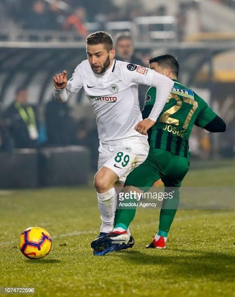Jouse Pesqueira of Akhisarspor in action against Nejc Skubic of Atiker Konyaspor during the Turkish Super Lig football match between Akhisarspor and...