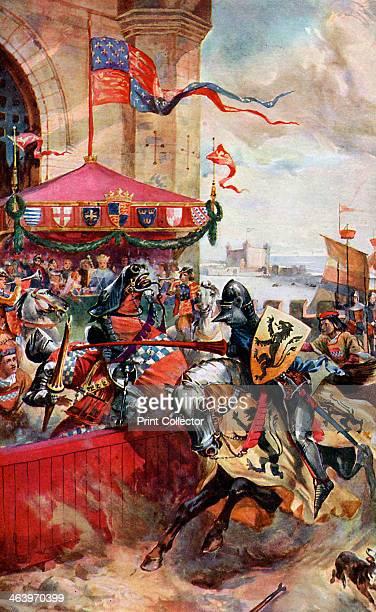 'A Joust on London Bridge' Joust between David de Lyndsays Earl of Crawford and Lord John de Welles Ambassador of King Richard II Illustration from...
