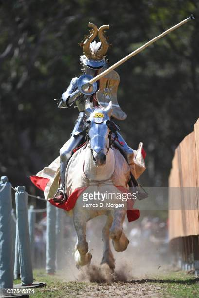 A man dressed in armour before the Grand Parade at the St Ives Medieval Faire on September 22 2018 in Sydney Australia The St Ives Medieval Faire is...