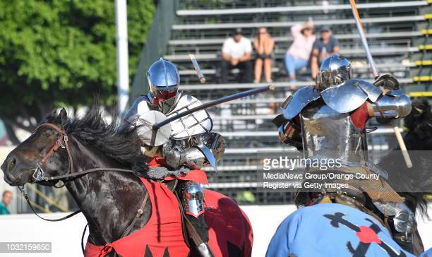 Jousting knights battle at the OC Fair in Costa Mesa California on Thursday July 20 2017 The Knights of Valor are a traveling troupe of full contact...
