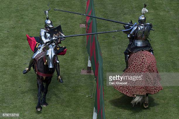 Jousting reenactment takes place at Framlingham Castle on July 23 2016 in Framlingham England English Heritage have launched a petition calling for...