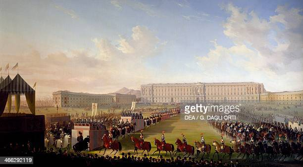 Jousting tournament in front of the Royal Palace of Caserta painting by Salvatore Fergola oil on canvas 185x350 cm
