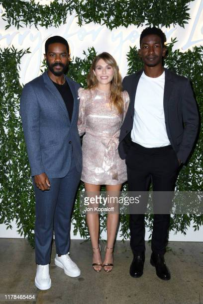 Jovan Adepo Elizabeth Olsen and Mamoudou Athie attend the Sorry For Your Loss season 2 premiere event at NeueHouse Los Angeles on October 01 2019 in...