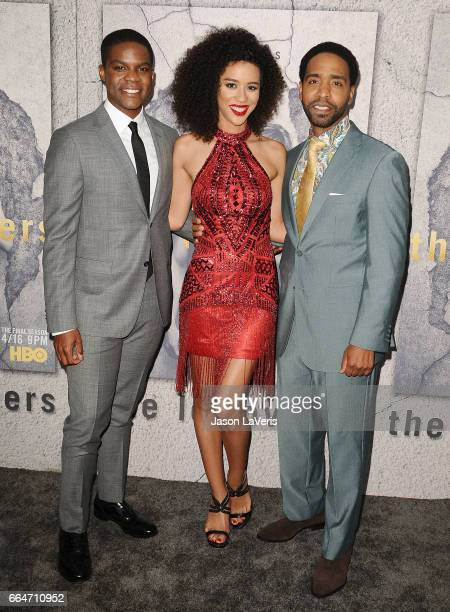 Jovan Adepo Jasmin Savoy Brown and Kevin Carroll attend the season 3 premiere of The Leftovers at Avalon Hollywood on April 4 2017 in Los Angeles...