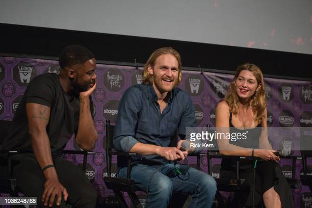 Jovan Adepo Wyatt Russell and Mathilde Ollivier at the QA after the World Premiere of 'Overlord' during the 2018 Fantastic Fest Film Festival on...
