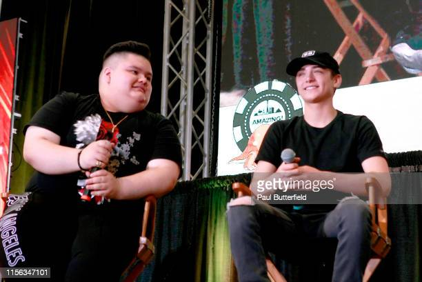 """Jovan Armand and Asher Angel speak at the """"Shazam! Behind the Scenes"""" panel during the Seventh Annual Amazing Las Vegas Comic Con at the Las Vegas..."""