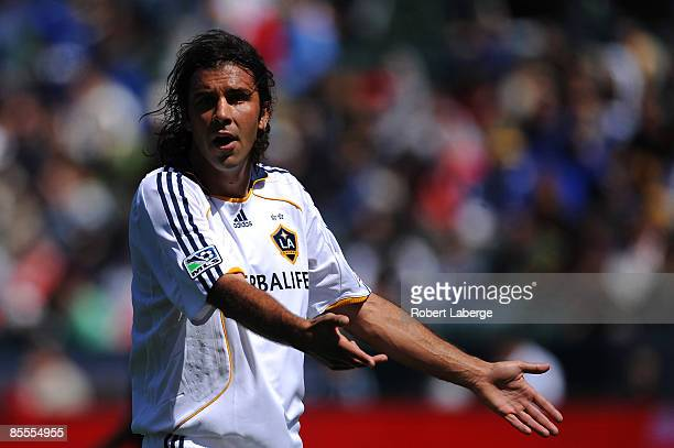 Jovan Kirovski of Los Angeles Galaxy questions a referee's call during the game against D C United at the Home Depot Center on March 22 2009 in...