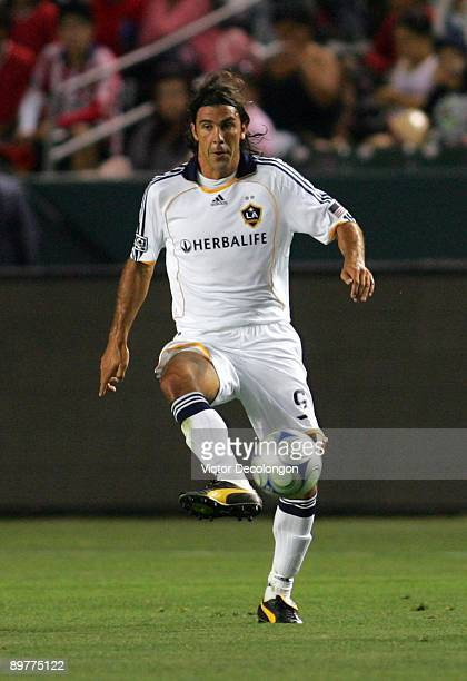 Jovan Kirovski of the Los Angeles Galaxy controls the ball during their MLS match against Chivas USA at The Home Depot Center on July 11 2009 in...