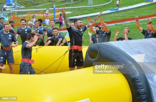 Jovan Kostovski during team bonding activities during the OHL Leuven training session on July 09 2018 in Maribor Slovenia