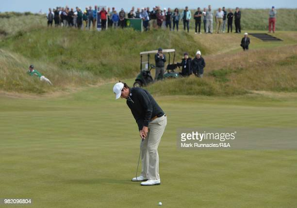 Jovan Rebula of Republic of South Africa Africa putting at the 7th green in his match with Robin Dawson of Tramore in the Final of The Amateur...